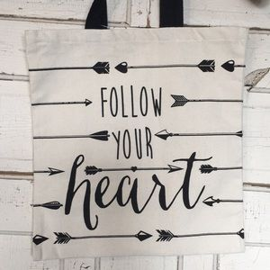NWT Follow Your Heart Canvas Tote Bag w/ arrows